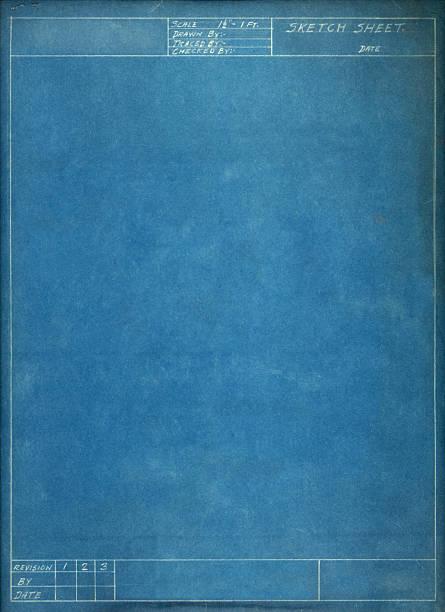 Blank blue sketch sheet on white background stock photo