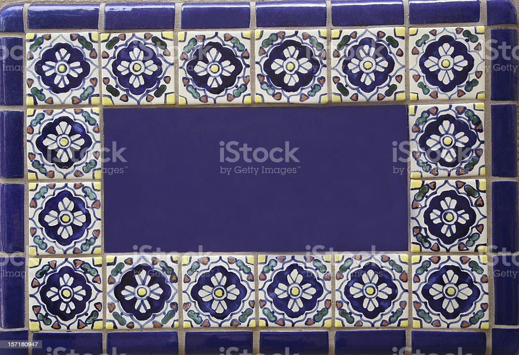Blank Blue SouthWestern Ceramic Tile Sign royalty-free stock photo