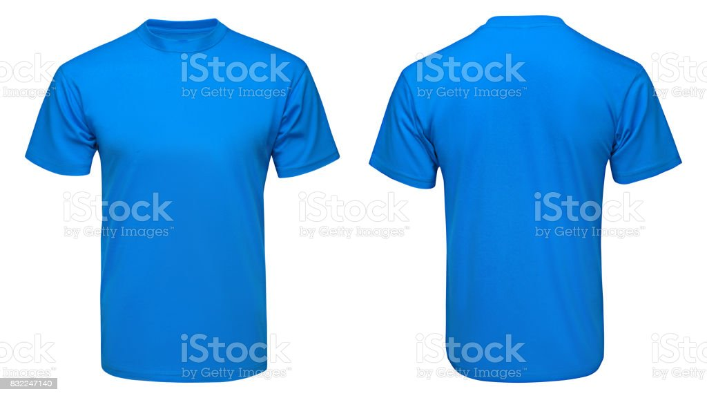 blank blue t-shirt mock up template, front and back view, isolated white background stock photo