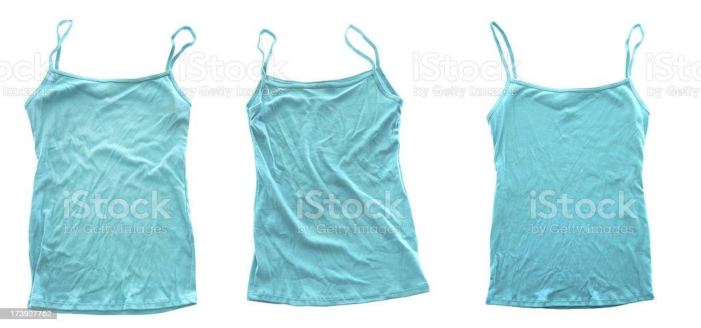 Blank Blue Tshirts on White Background royalty-free stock photo