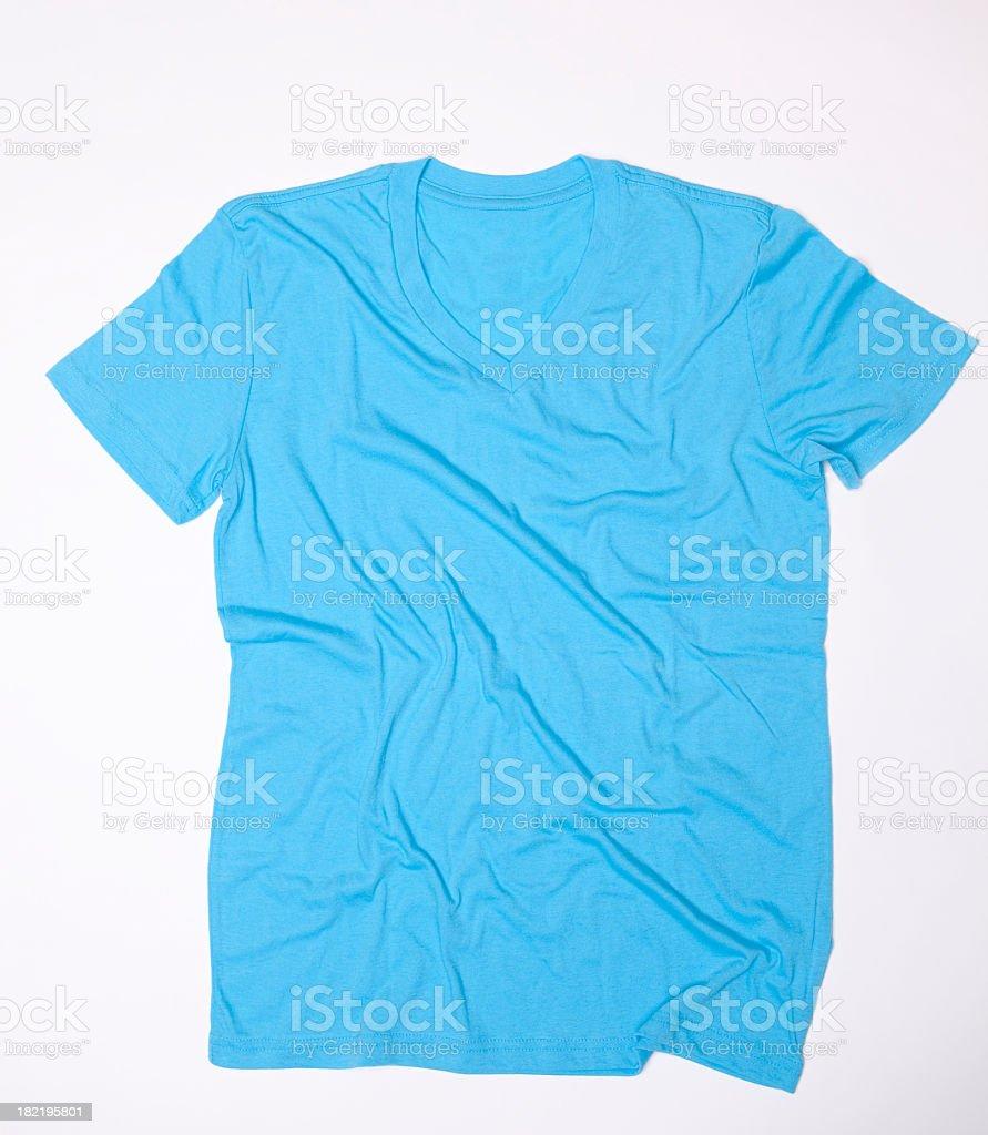 Blank Blue V-neck Wrinkled stock photo