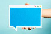 istock Blank blue window computer concept. Speech bubble concept blue background 530204347