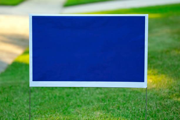 Blank Blue Yard Sign stock photo