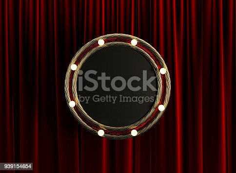 939154550 istock photo Blank Board Circle with Golden Frame and Light Bulbs. 939154654