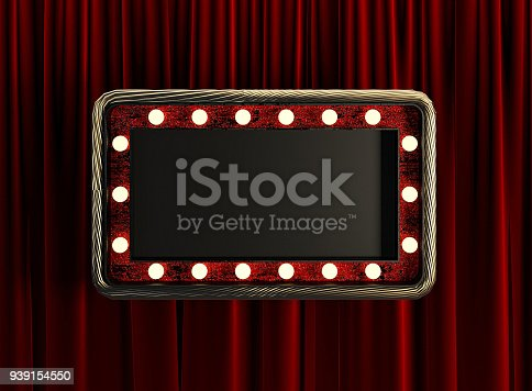939154550 istock photo Blank Board with Golden Frame and Light Bulbs. 939154550