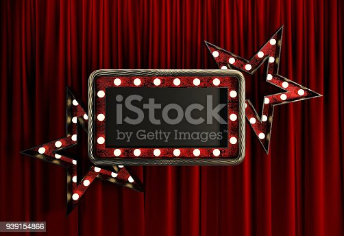 939154550 istock photo Blank Board with Golden Frame, Light Bulbs and Stars. 939154866