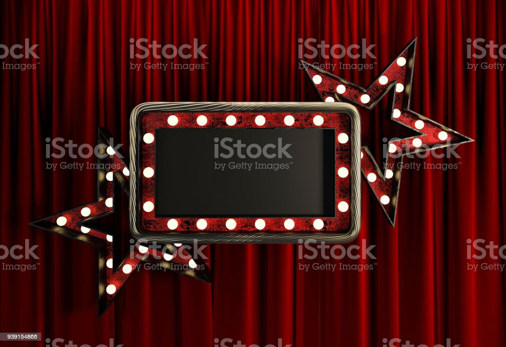 Blank Board with Golden Frame, Light Bulbs and Stars. stock photo