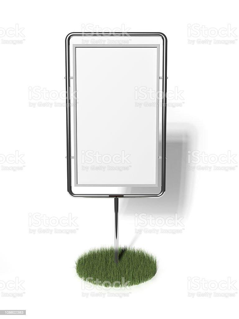 Blank board with grassy plot royalty-free stock photo