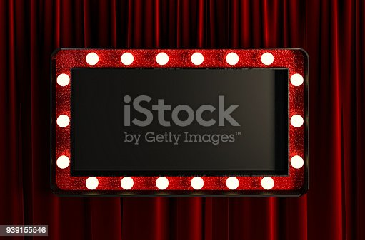 939154550 istock photo Blank Board with Red Frame and Light Bulbs. 939155546