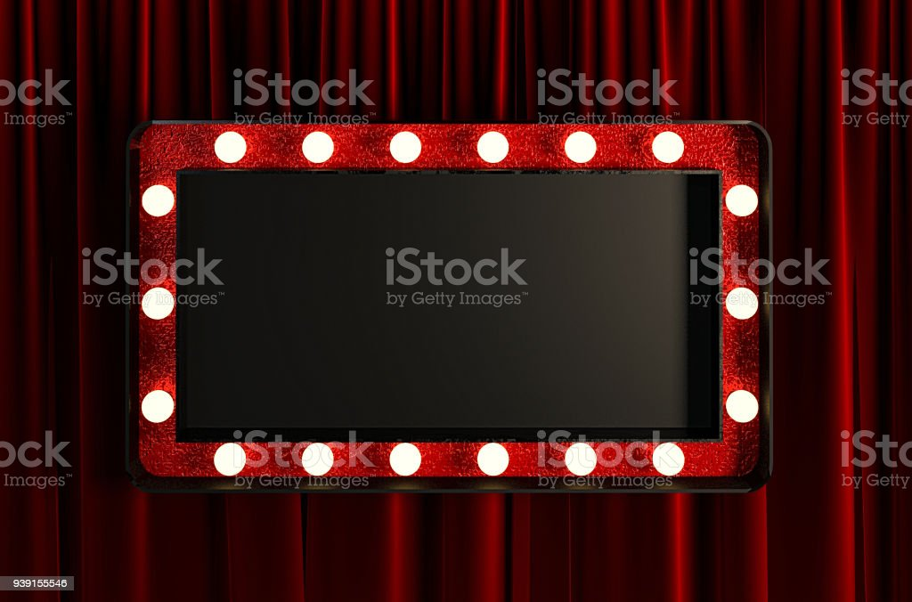 Blank Board with Red Frame and Light Bulbs. stock photo