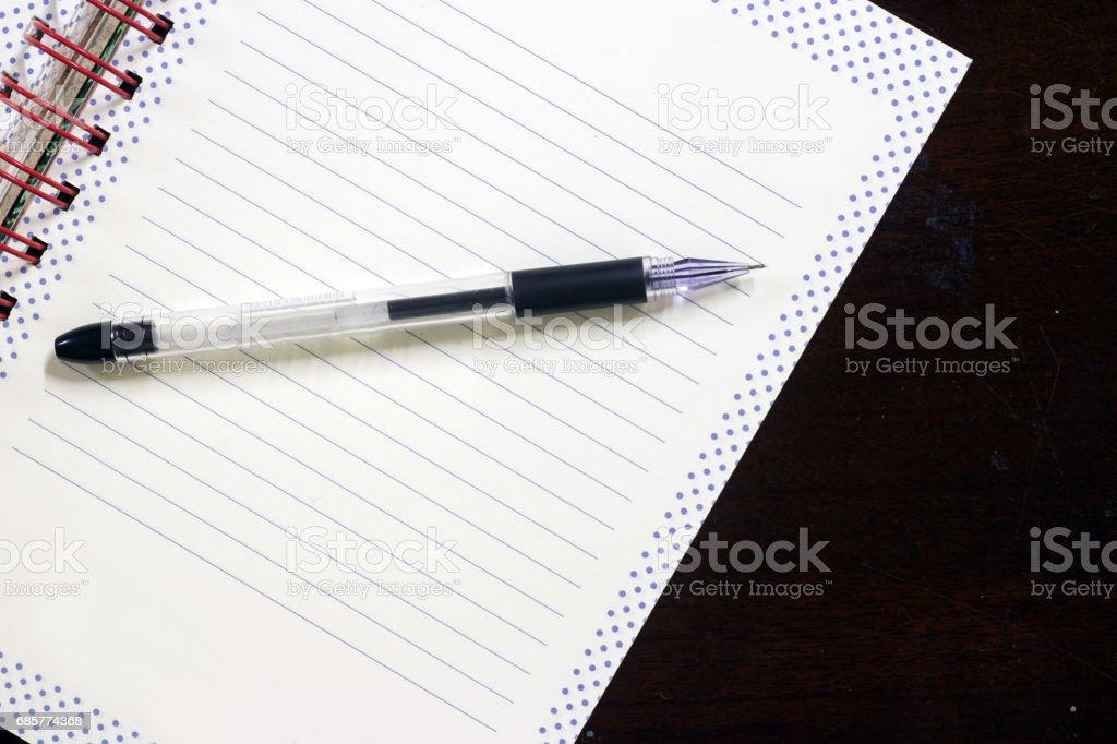 Blank book and pen on old desk royalty-free stock photo