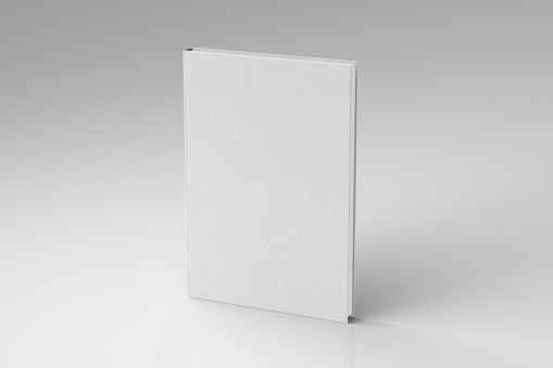 White portrait blank book cover mockup with fabric texture standing isolated on white background with clipping path. 3d illustration