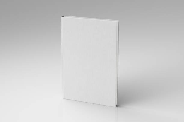 Blank book cover mockup White portrait blank book cover mockup with fabric texture standing isolated on white background with clipping path. 3d illustration hardcover book stock pictures, royalty-free photos & images