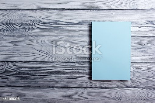 istock Blank book cover on textured wood background. Copy space 484165026