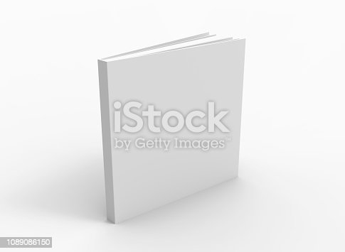 Blank book cover over white background