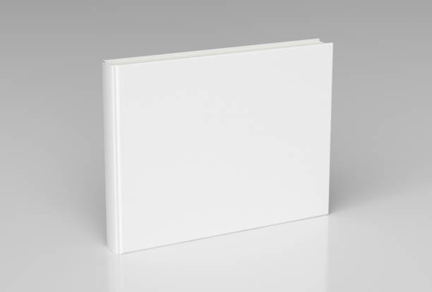 Blank book cover standing White blank book textured cover with landscape orientation standing isolated on white background with clipping path. 3d render hardcover book stock pictures, royalty-free photos & images