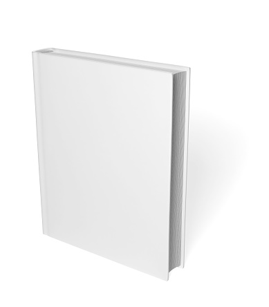 Empty book template on white background with soft shadow. 3d modeling and rendering.