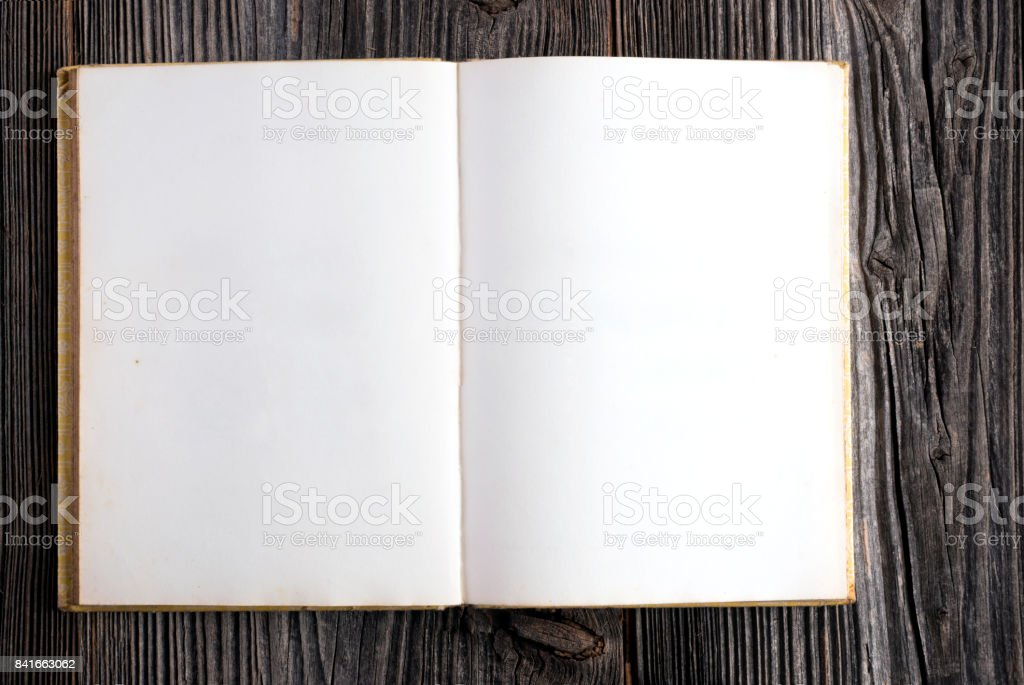 Blank Book on Wooden Background stock photo
