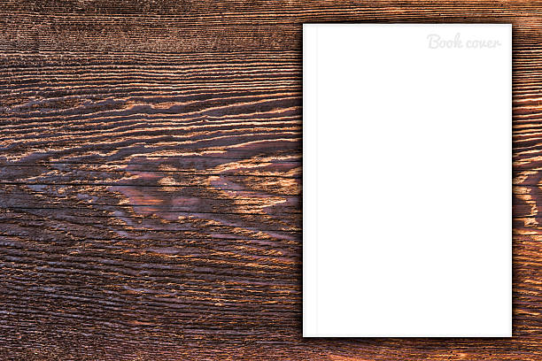 blank book or magazine cover on wood background - magazine cover stock photos and pictures