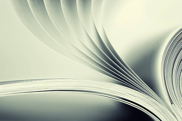 Blank book pages being flipped stock photo