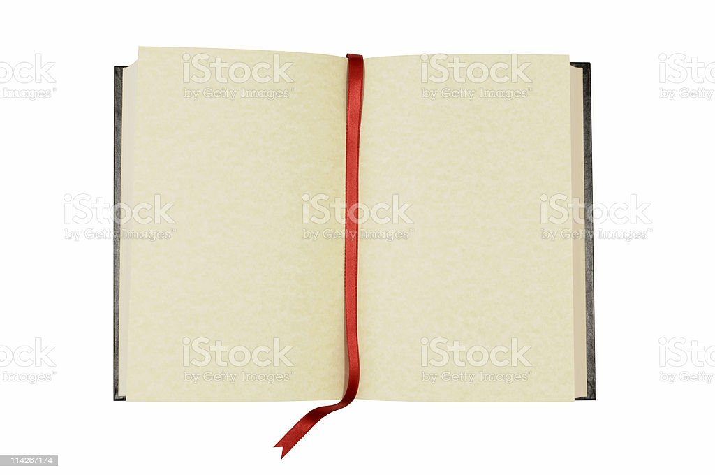 Blank book with bookmark stock photo