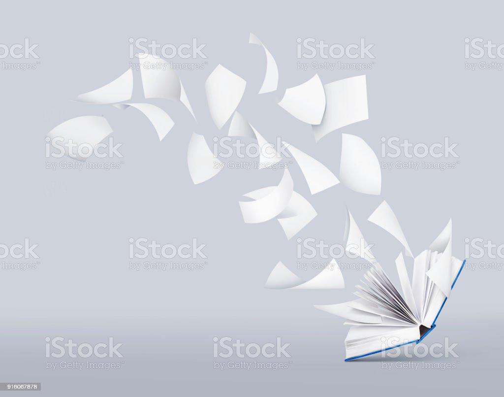 blank book with flying pages stock photo