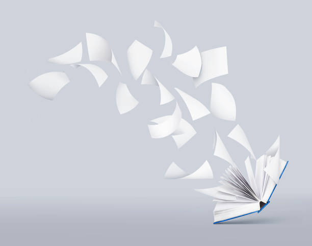 blank book with flying pages - on air stock photos and pictures