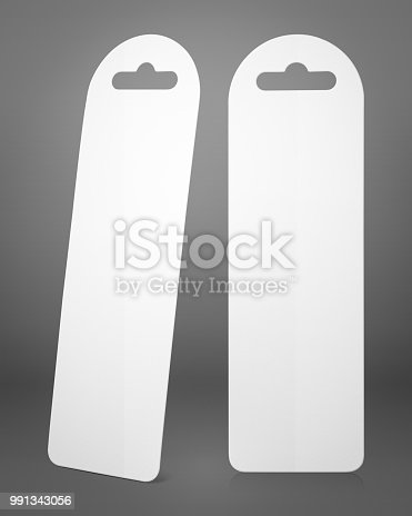 istock Blank bookmark on grey background. Empty page marker for design. 991343056