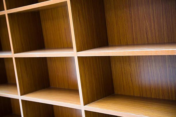 blank bookshelf stock photo
