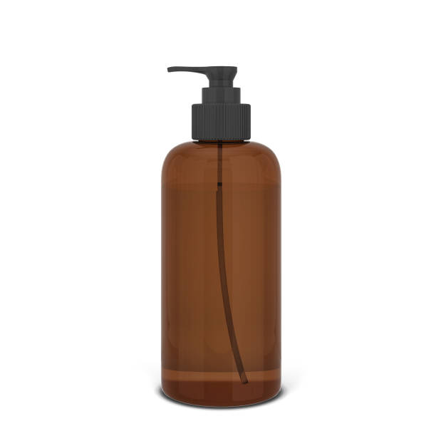 leere flasche für flüssige kosmetika - braunglasflaschen stock-fotos und bilder