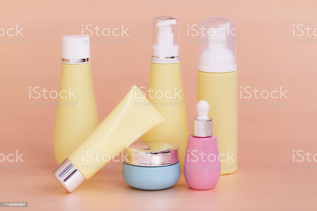 blank bottle packaging with natural cosmetic cream, serum, skincare,...