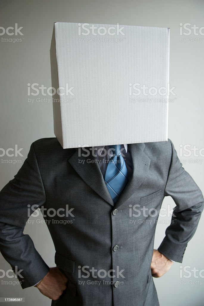 Blank Box Head Businessman Standing with Hands on Hips royalty-free stock photo