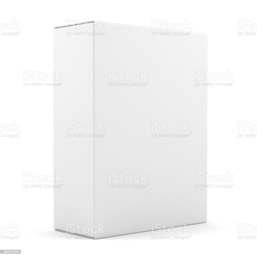Blank box isolated over white background stock photo