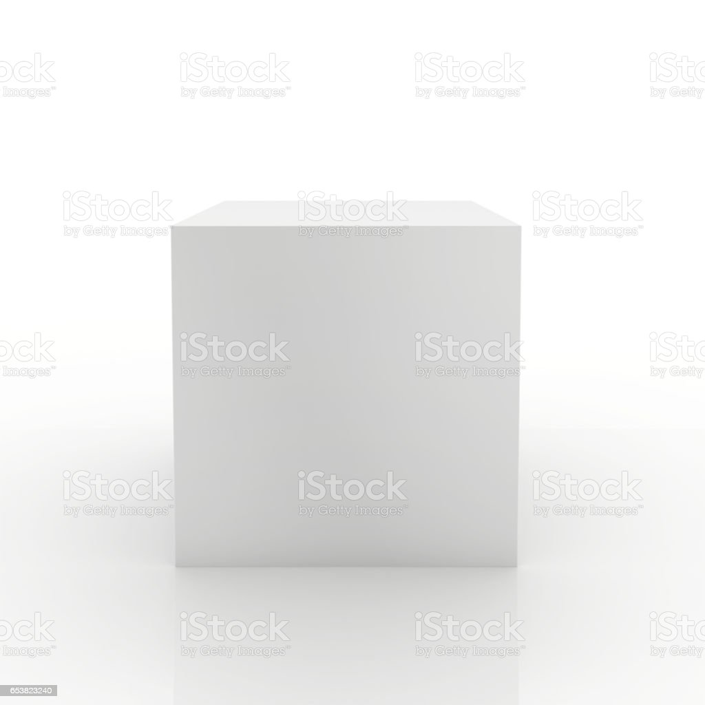 Blank box on white background. 3d rendering stock photo