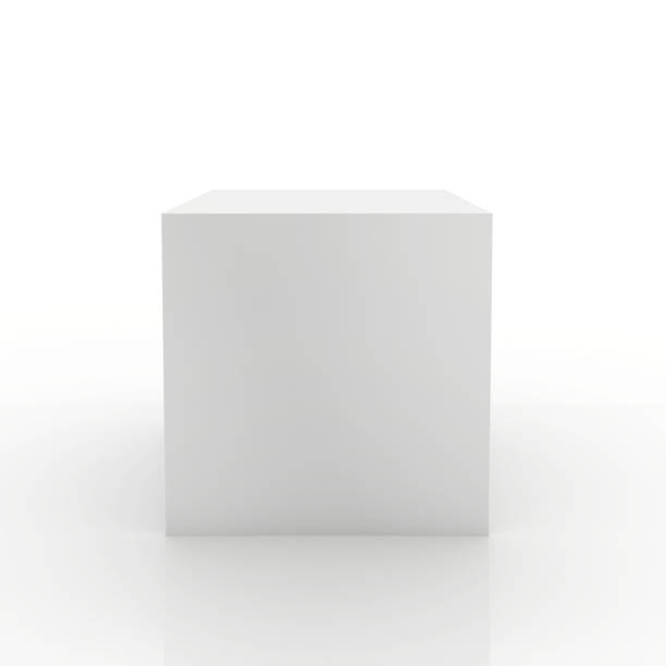 blank box on white background. 3d rendering - cube shape stock pictures, royalty-free photos & images