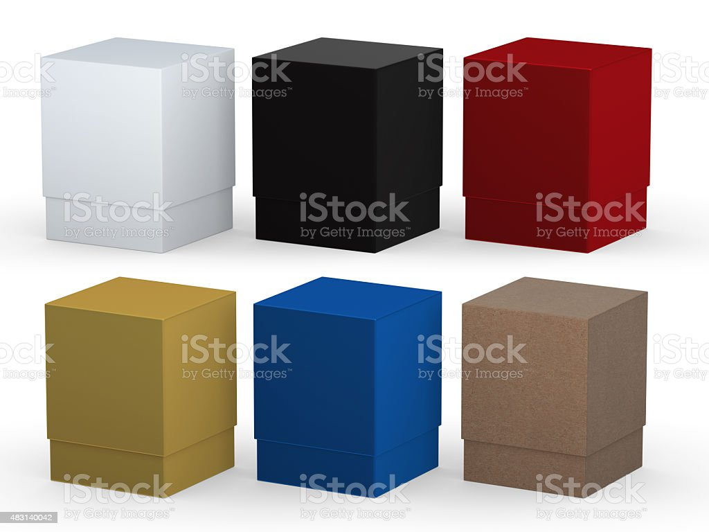 blank box packaging set with clipping path stock photo