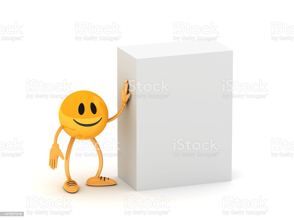 Blank box with golden business man royalty-free stock photo