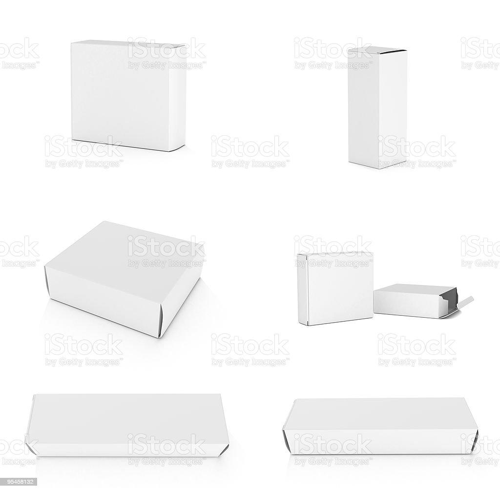 Blank boxes on white background stock photo
