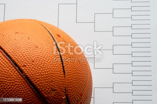 Close focus on basketball with defocused and discernible bracket in background
