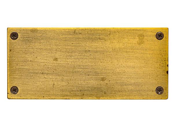 blank brass nameplate with screws - messing stockfoto's en -beelden
