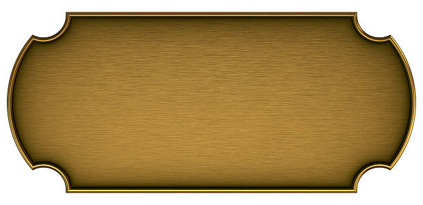 blank brass plaque on a white background - messing stockfoto's en -beelden