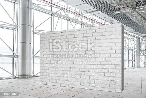 istock Blank brick wall mockup in modern empty gallery 939201320