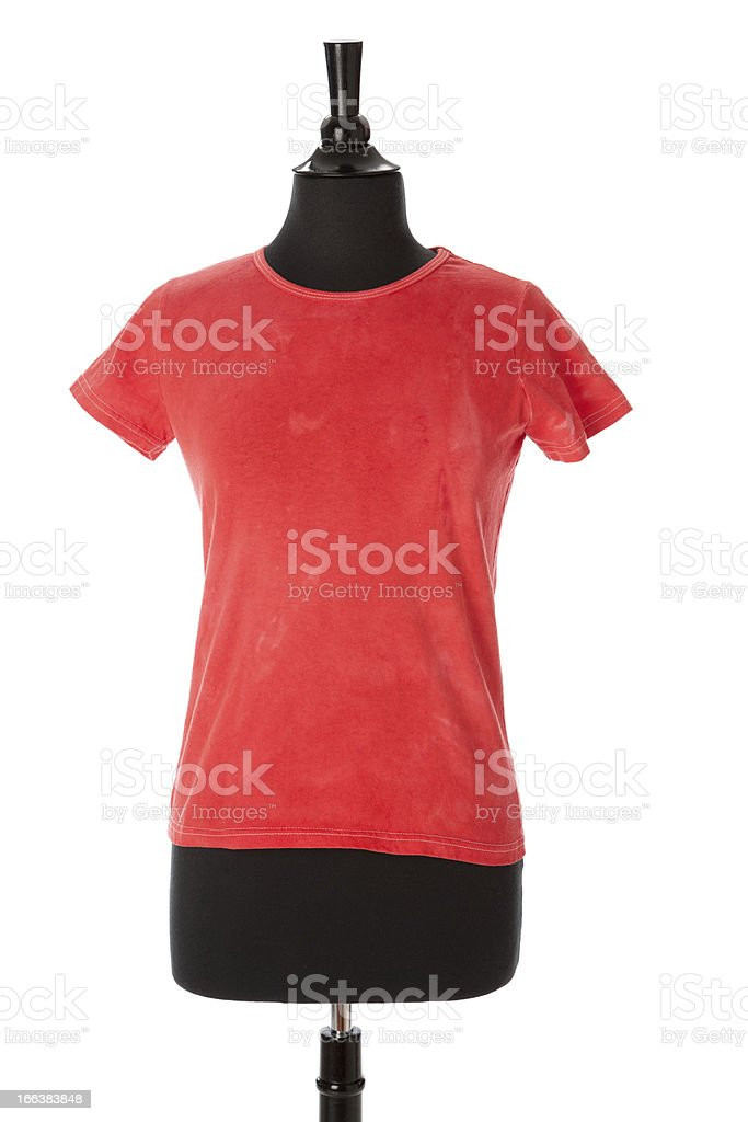 Blank Bright Red Tie Dye T-Shirt for Women or Girls royalty-free stock photo