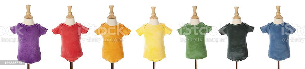 Blank Bright Tie Dye T-Shirts Colorful Rainbow  for Baby royalty-free stock photo