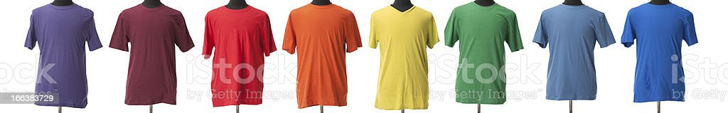 Blank Bright T-Shirts Colorful Rainbow  for Boys or Men stock photo