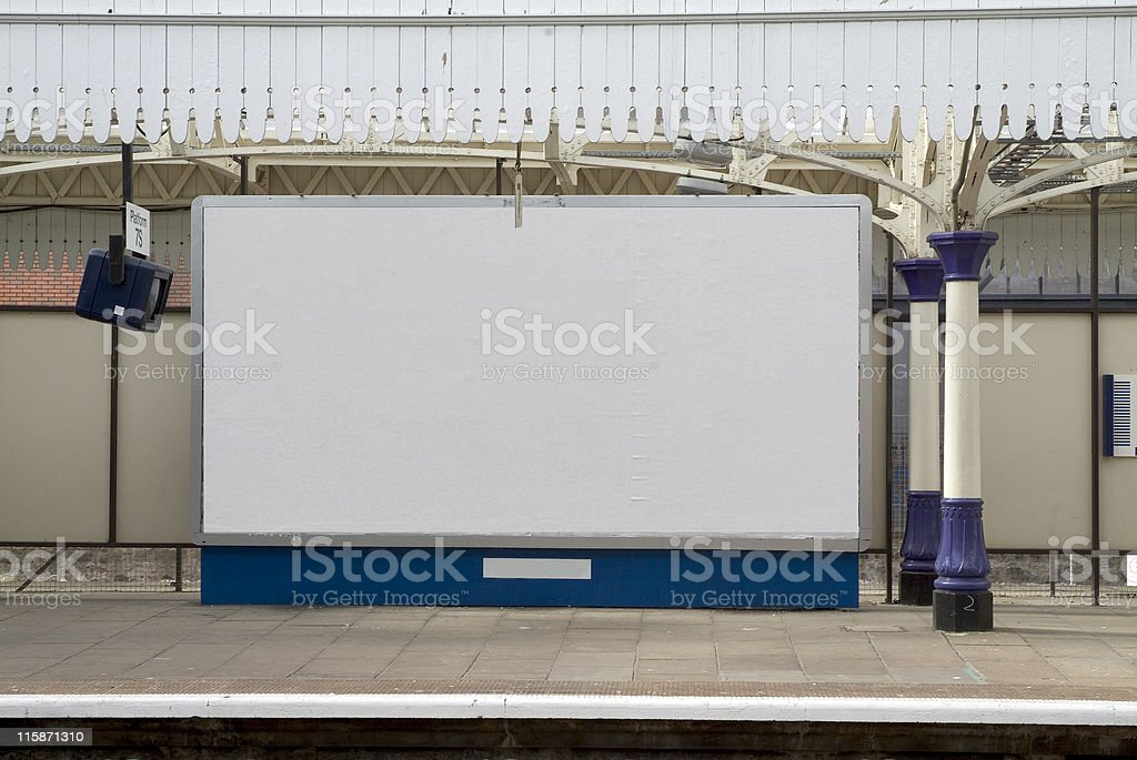 Blank british billboard at a railway station stock photo