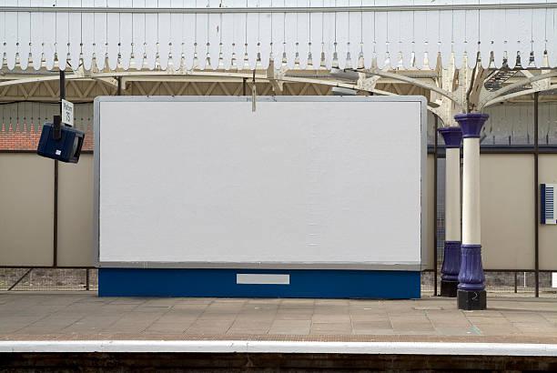 Blank british billboard at a railway station stock photo