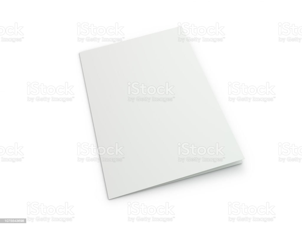 Blank Brochure magazine isolated to replace your design. 3D stock photo