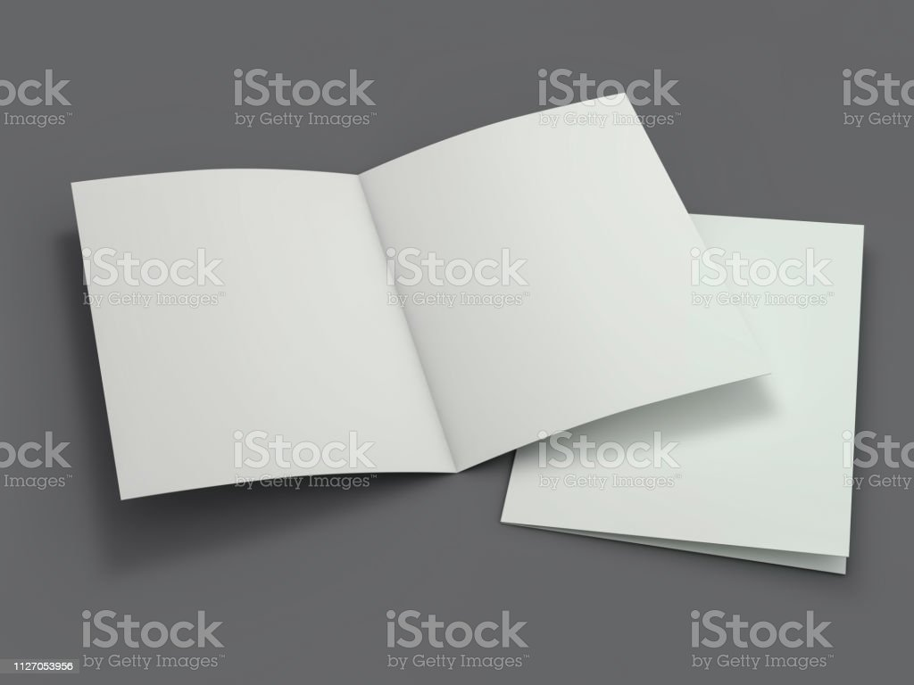 Blank Brochure Magazine Isolated To Replace Your Design 3d Stock
