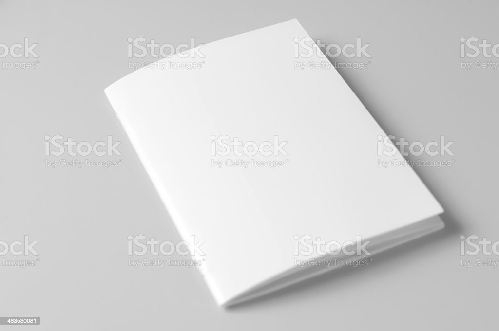 Blank brochure on white background stock photo